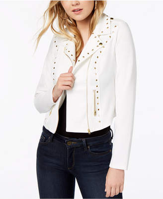Material Girl Juniors' Studded Ponte-Knit Moto Jacket, Created for Macy's