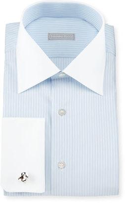 Stefano Ricci Contrast-Collar Stitch-Striped French-Cuff Dress Shirt, Blue $750 thestylecure.com