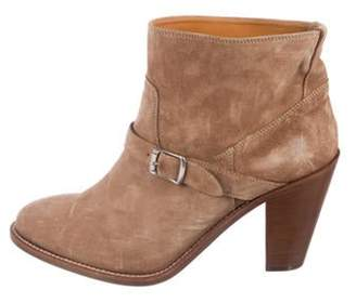 Saint Laurent Suede Round-Toe Ankle Boots brown Suede Round-Toe Ankle Boots