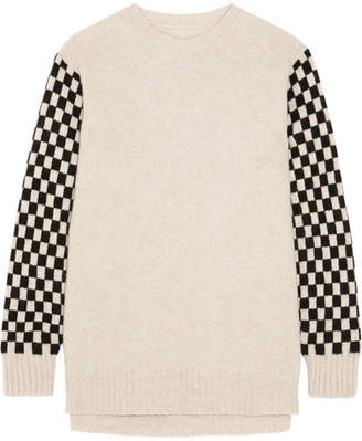 The Elder Statesman Checked Cashmere Sweater - Beige