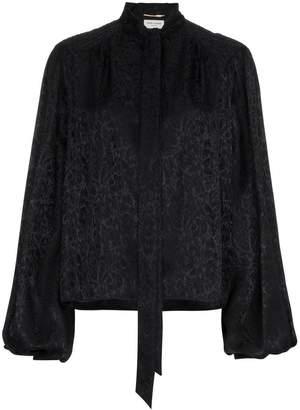 Saint Laurent rose jacquard voluminous sleeve silk blouse