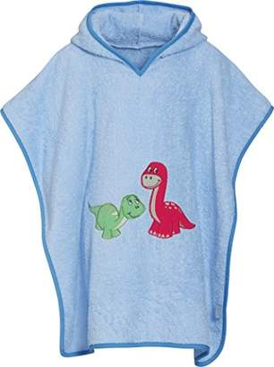 Playshoes Boy's Kinder Frottee-Poncho, Badeponcho Dino mit Kapuze Bathrobe, Blue (bleu), (Manufacturer size: Large)