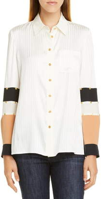 Tory Burch Patchwork Stud Silk Shirt