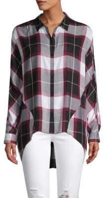 Plaid High-Low Button-Down Shirt