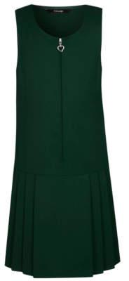 George Girls Bottle Green Drop Waist School Pinafore Dress
