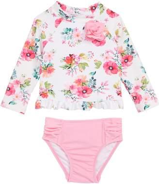 Little Me Watercolor Floral Two-Piece Rashguard Swimsuit