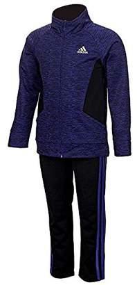 adidas Little Girls' Tricot Zip Jacket and Pant Set (Dark ,)