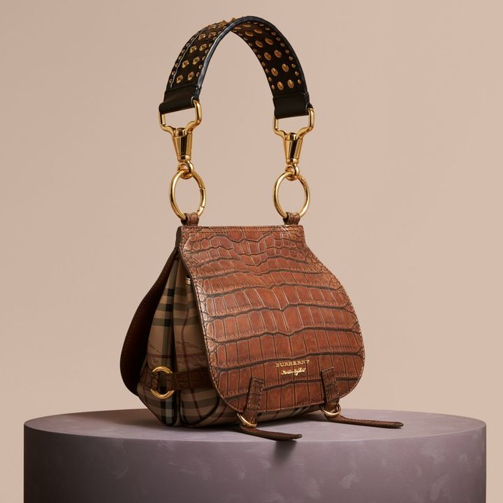 Burberry The Bridle Bag in Alligator and Haymarket Check