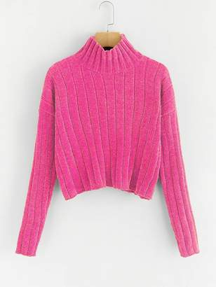 Shein Neon Pink High Neck Raw Hem Crop Sweater
