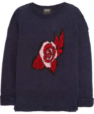 Intarsia Mohair-blend Sweater - Navy