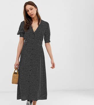 2e1d136a08465b Asos Tall DESIGN Tall button through midi tea dress with shirred waist in  mono spot print