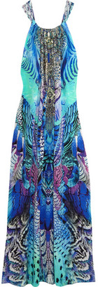 Camilla - Embellished Printed Silk Crepe De Chine Maxi Dress - Blue $600 thestylecure.com