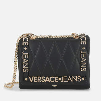 Versace Women's Quilted Logo Chain Handle Cross Body Bag - Black