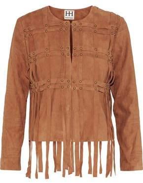 Fringe-Trimmed Studded Suede Jacket