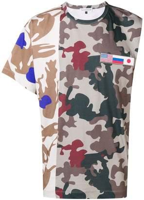 Gosha Rubchinskiy patchwork camouflage asymmetric T-shirt