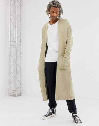 Asos DESIGN knitted long line cardigan in oatmeal twist