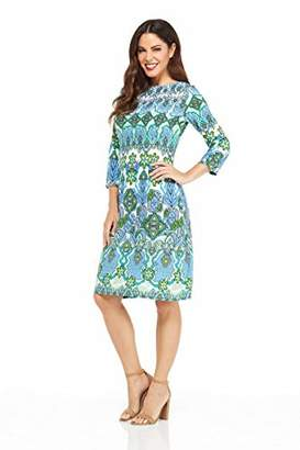 London Times Women's Petite 3/4 Sleeve Matte Jersey Shift Dress