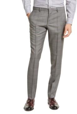 HUGO BOSS Men's Slim-Fit Gray Windowpane Check Suit Pants
