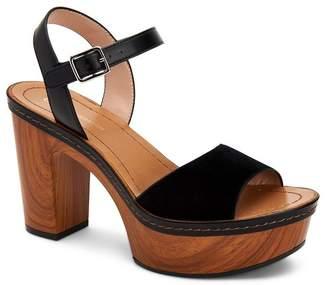 BCBGeneration Zina Suede Wood Block Heel Platform Sandals