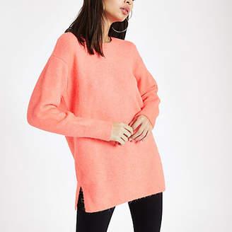 River Island Bright orange knit crew neck sweater