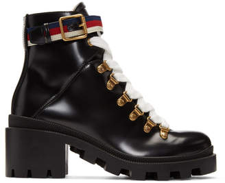 Gucci Black Lug Sole Trip Hiking Boots
