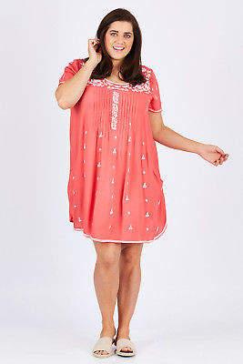 NEW Orientique Womens Knee Length Dresses Essential Emb Dress Coral Dresses