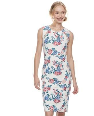 Almost Famous Juniors' Floral Cutout Bodycon Dress