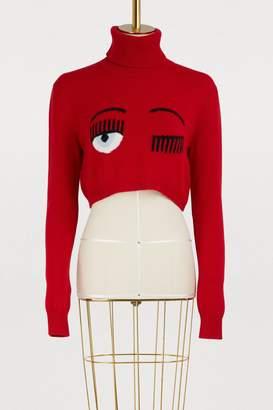 Chiara Ferragni Merino cropped turtleneck sweater