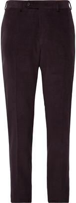 Canali Black Kei Slim-Fit Cotton-Blend Corduroy Suit Trousers - Men - Purple