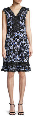 Karl Lagerfeld PARIS Floral-Print Ruffled Hem Lace Dress