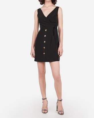 Express Button Front Surplice Tie Waist Mini Dress