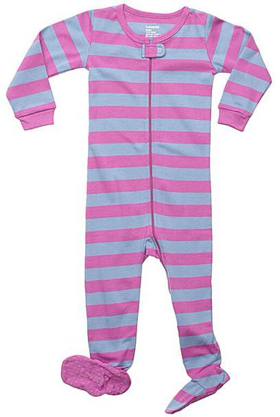 Orchid & Denim Stripe Footie - Newborn, Infant, Toddler & Girls