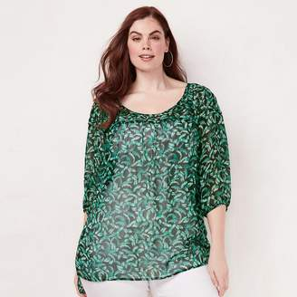 Lauren Conrad Plus Size Printed Chiffon Peasant Top