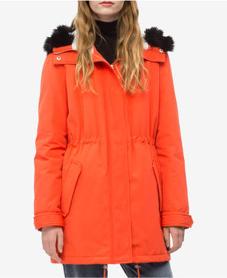 Calvin Klein Jeans Hooded Faux-Fur Parka Jacket