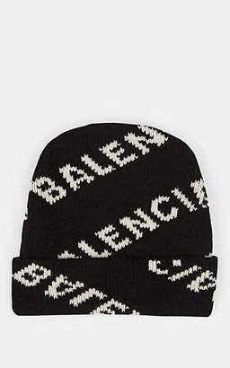 Balenciaga Women's Logo-Knit Wool-Blend Beanie - Black