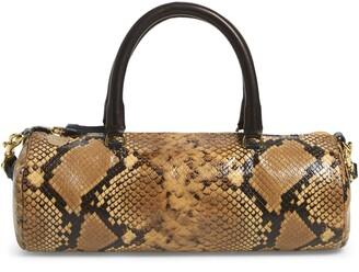 Clare Vivier Pepe Snake Embossed Goatskin Leather Barrel Baguette Bag