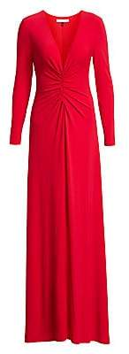 Halston Women's V-Neck Ruched Jersey Gown