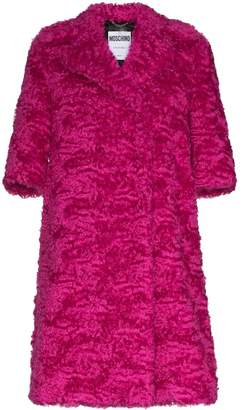 Moschino Mid-sleeve faux-fur mohair blend coat