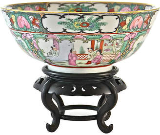 One Kings Lane Vintage Pink Famille Rose Bowl with Stand
