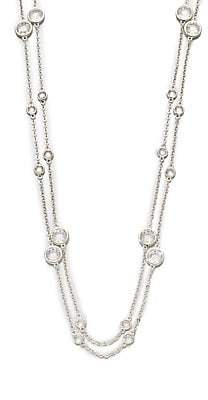 Adriana Orsini Women's Long Double-Row Station Necklace/Rhodium