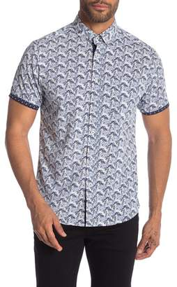 Report Collection Micro Stretch Tropical Tree Print Short Sleeve Shirt