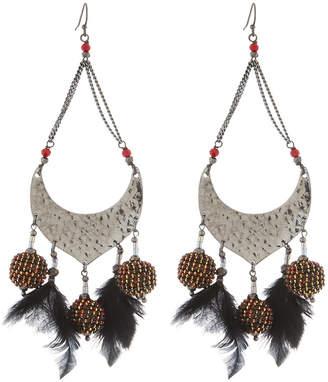 Nakamol Open Bead & Feather Dangle Earrings
