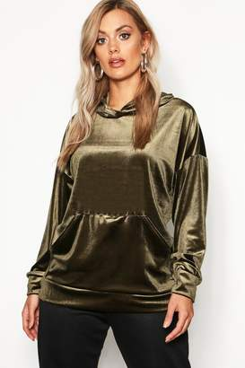 boohoo Plus Velvet Pocket Oversized Hoody