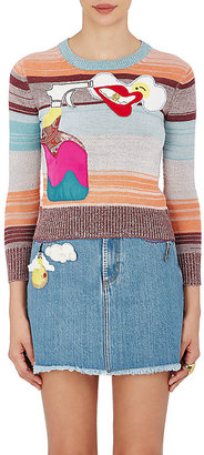 Marc Jacobs Women's Embellished Variegated Striped Crop Wool Sweater $495 thestylecure.com
