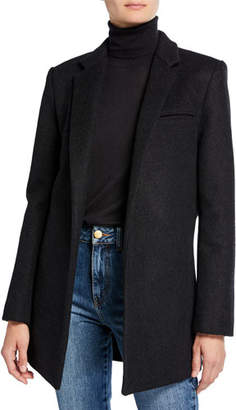Co Flannel Fitted Pleated-Back Blazer