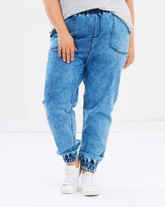 Vintage Wash Denim Jogger Pants