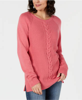Karen Scott Crew-Neck Cable-Knit Sweater, Created for Macy's