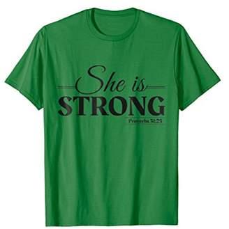 She Is Strong - Bible Verse Christian Gift T-Shirt