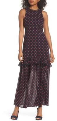 NSR Dot Ruffle Maxi Dress