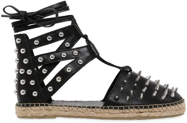 Sarah Summer 10mm Studded Leather Lace Up Espadrilles